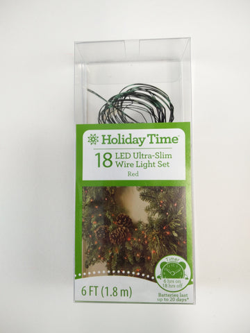 Holiday Time 18 ct ultra Slim LED Mini Lights Battery Powered Red colored