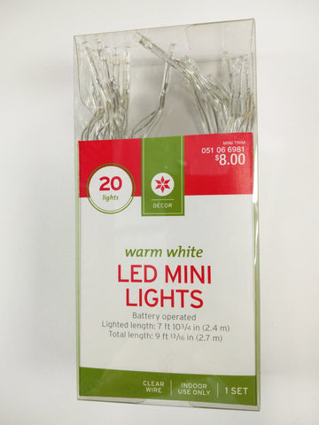 20 ct Warm White LED Mini Lights Battery Powered