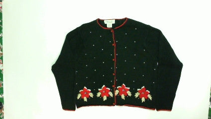 Hearts Poinsettas-Medium Christmas Sweater