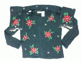 Scattered Poinsettas-Small Christmas Sweater