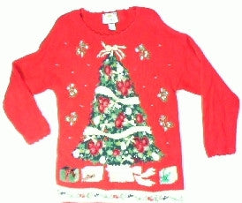 Poinsetta Ribbon Tree-Small Christmas Sweater