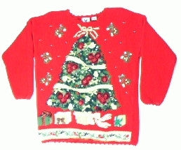 Poinsetta Ribbon Tree 2-Small Christmas Sweater