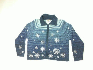 Blue Sky Snowflakes-Small Christmas Sweater