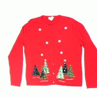 Bling Trees in Snow-Small Christmas Sweater