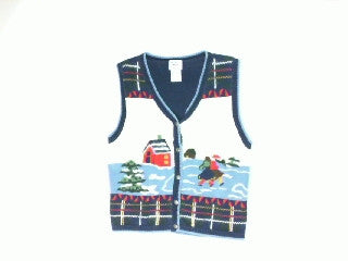 Country Iceskating-Small Christmas Sweater