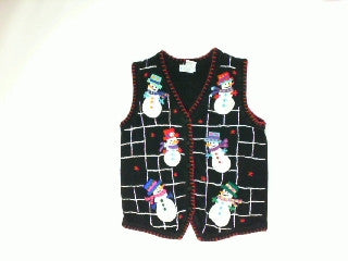 checker-board-snowman-Small Christmas Sweater