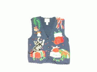 Honry Kitten at Play-Small Christmas Sweater