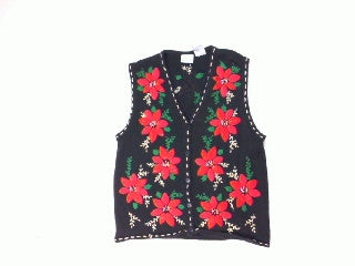 Is There a Vest in Those Poinsettas-Small Christmas Sweater