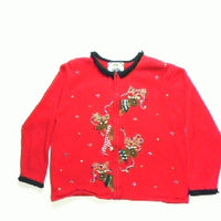 Romping Reindeer Lights-Medium Christmas Sweater