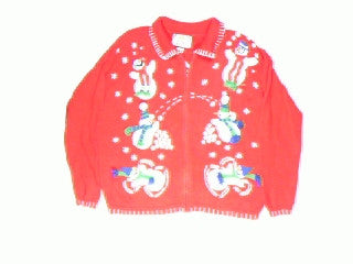 It's A Snowball Fight-Large Christmas Sweater