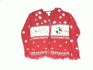 Buttons On The Fringe-Small Christmas Sweater