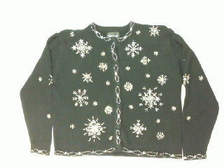 Golden Snowflakes-Large Christmas Sweater