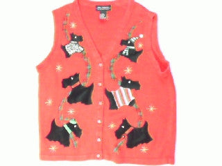 Preppy and Plaid Puppies-Large Christmas Sweater