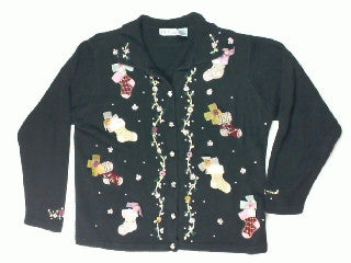 Roses and Bows On Your Stockings-Large Christmas Sweater