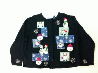 Patched Up Snowmen-Large Christmas Sweater