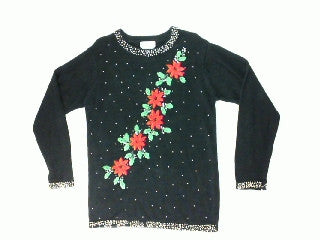Razzle Dazzle In Poinsettias-Small Christmas Sweater
