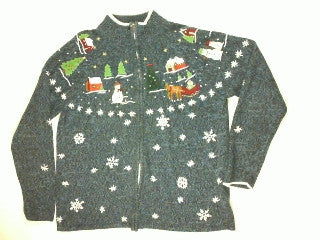 Sledding In The Countryside-Large Christmas Sweater