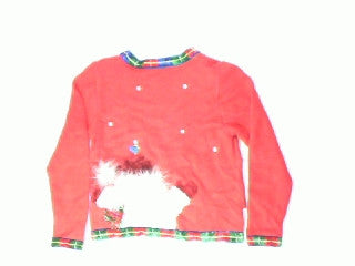 Furry Frosty On Your Belly-X Small Christmas Sweater