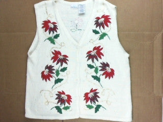 Winter  White and Red Poinsettias-X Small Christmas Sweater