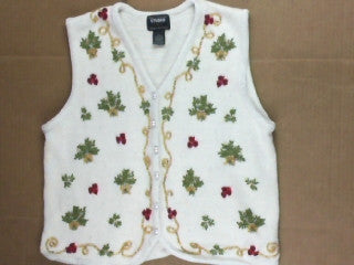 Fancy Winter Roses-Small Christmas Sweater