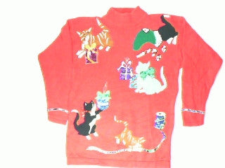 Naughty Kittens At Holiday Play- Small Christmas Sweater