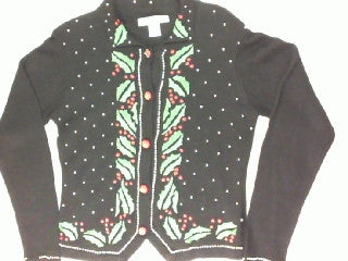 Beaded Up Holly-X Small Christmas Sweater