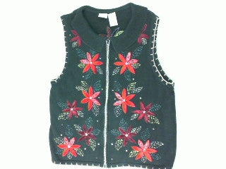 Frilly Poinsettia Power- Large Christmas Sweater