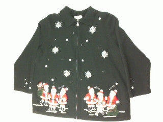 Singing Santa's- Large Christmas Sweater