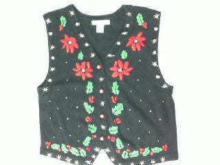 Punching Poinsettias-Small Christmas Sweater