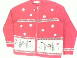 Snowmen In The Happy Woods-Large Christmas Sweater