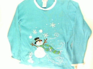 Sky Blue Snow Swirls-Small Christmas Sweater