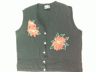 Little Bit of Poinsettias-Medium Christmas Sweater