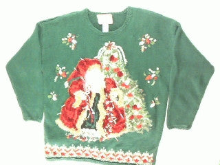 Old Time Santa At The Tree- Large Christmas Sweater