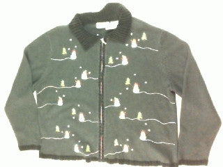 Snowmen and Trees-Large Christmas Sweater
