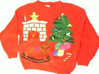 Nestled By  The Fire Place-Medium Christmas Sweater