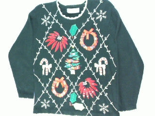 Holiday Trimmed In  Gold- Small Christmas Sweater