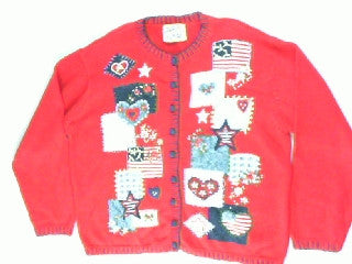 Patriotic Heart- Medium 4th of July Sweater