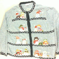 Snowman Gathering-Large Christmas Sweater