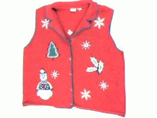 Snowman In Fringe-Large Christmas Sweater