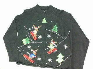 Reindeer Downhill Racing- Medium Christmas Sweater