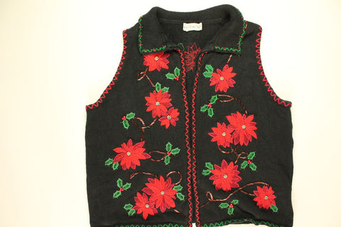 Poinsettia Party- Medium Christmas Sweater