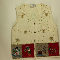 Golden Snow Holiday- X Small Christmas Sweater