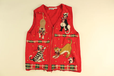 Holiday Bells and Cats- X Small Christmas Sweater
