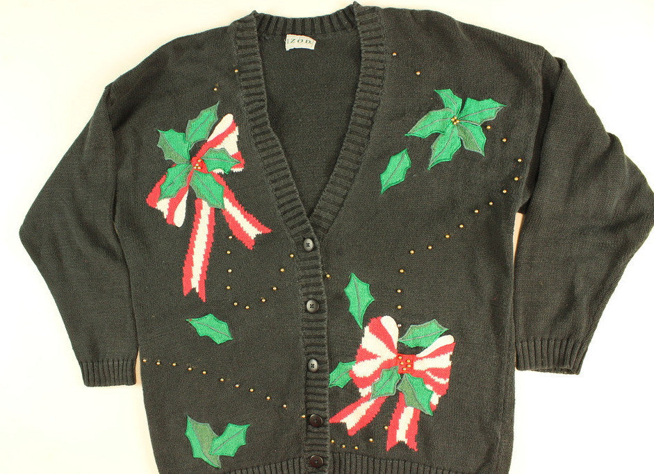 Holly Bow of Gold- Large Christmas Sweater