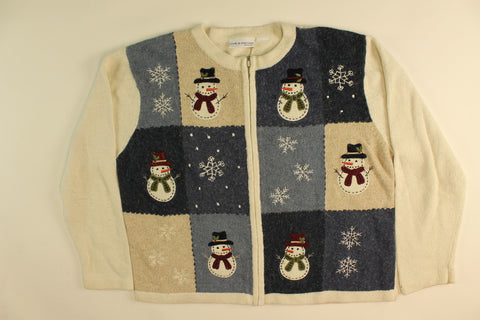 Holly Hat Snowmen-Large Christmas Sweater