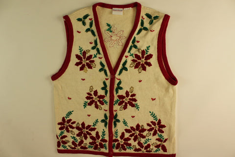 Party Poinsettia- Small Christmas Sweater