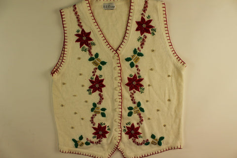 Peppermint Poinsettia-Medium Christmas Sweater