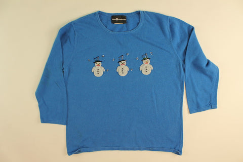 Triple Action Snowmen-Small Christmas Sweater