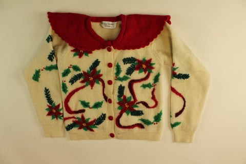 Red Ribbon Poinsettias- X Small Christmas Sweater