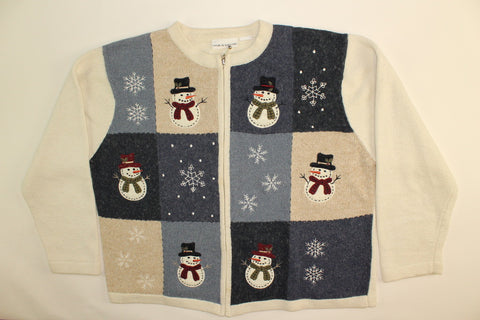 Patchwork Frosty- Large Christmas Sweater